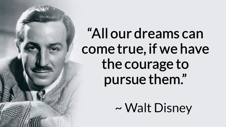 "courage inspiring quotes ""All our dreams can come true, if we have the courage to pursue them."" (Walt Disney)"