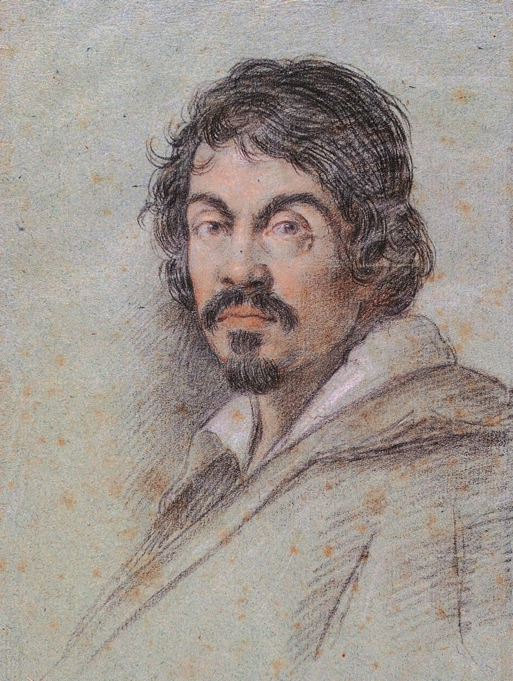 Caravaggio Art portrait of the Italian painter Michelangelo Merisi da Caravaggio (c. 1621) by Ottavio Leoni