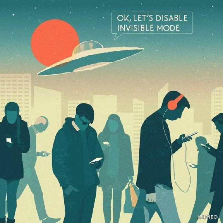 Modern Society Illustrations slaves to devices