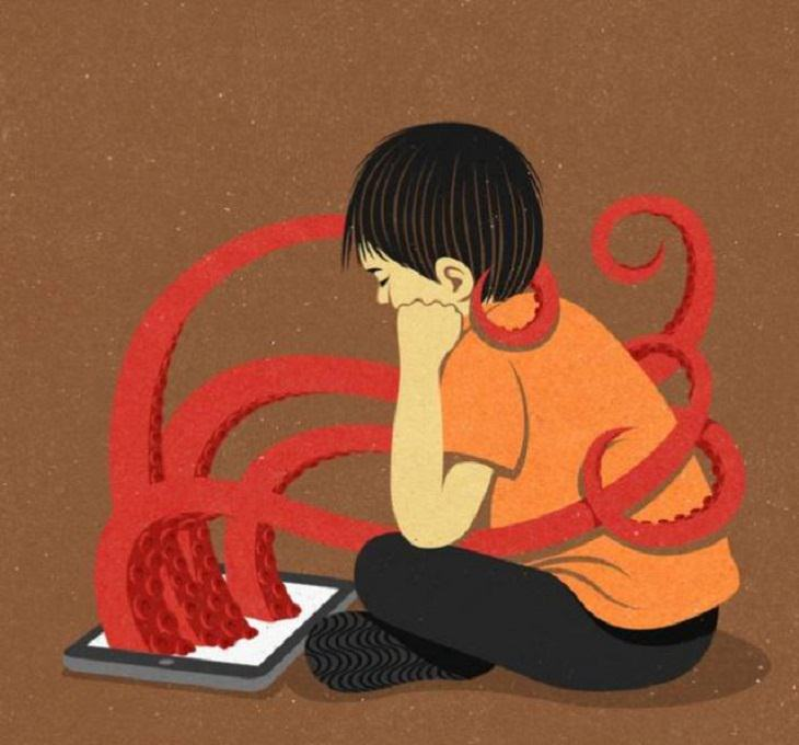 Modern Society Illustrations Children's addiction