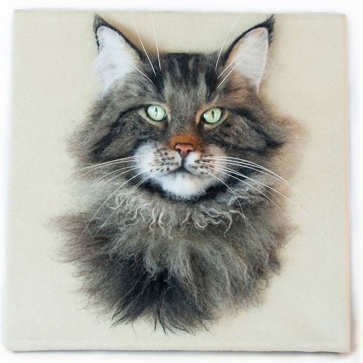 Felted Wool Portraits of Pets Hanna Tsukanova maine coon
