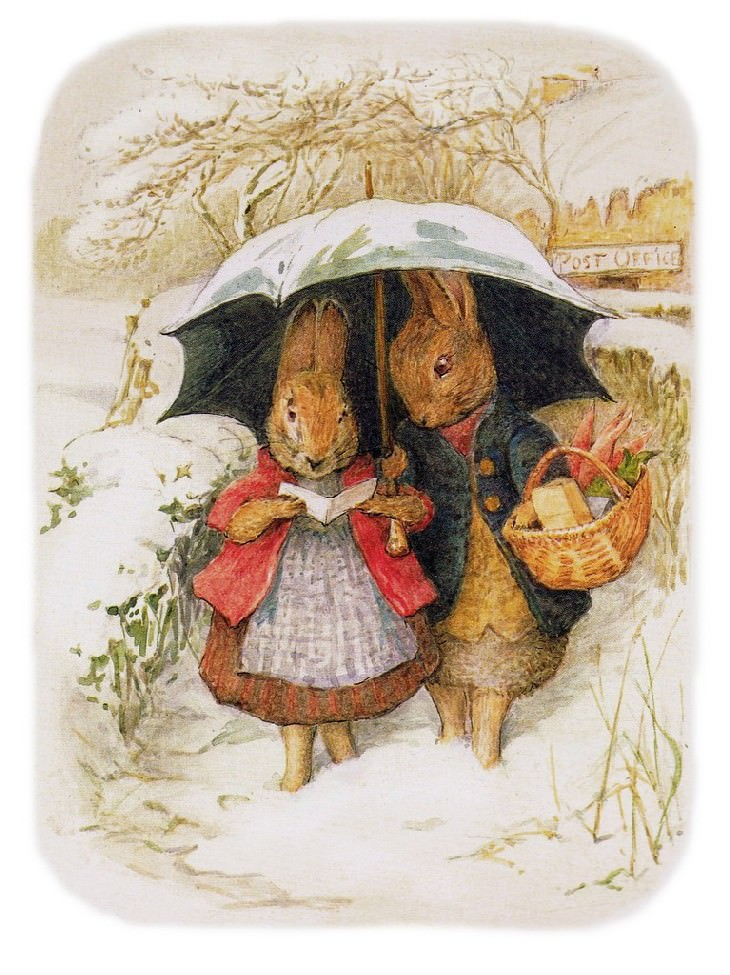 Beatrix Potter Bunnies in Winter