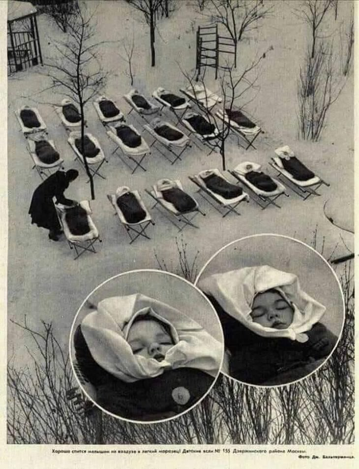vintage photos Children Asleep Outside At a Maternity Hospital in Moscow (1958)