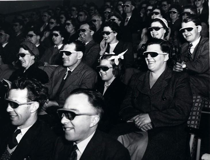 "vintage photos Watchinga 3D ""stereoscopic film"" Wearing Special Glasses (Telekinema, South Bank, London during, 1951)"