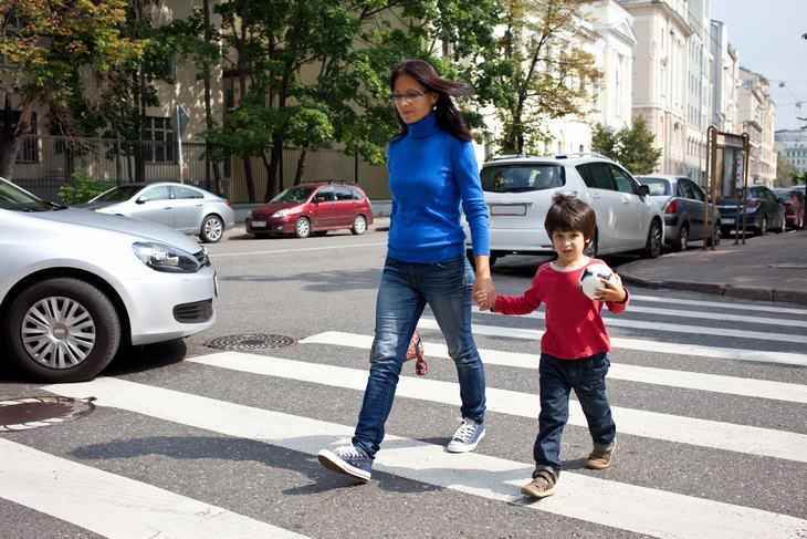 child crossing streets