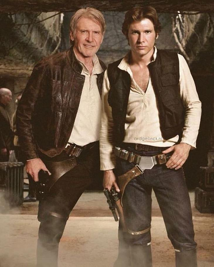 celebrities and their younger selves harrison ford