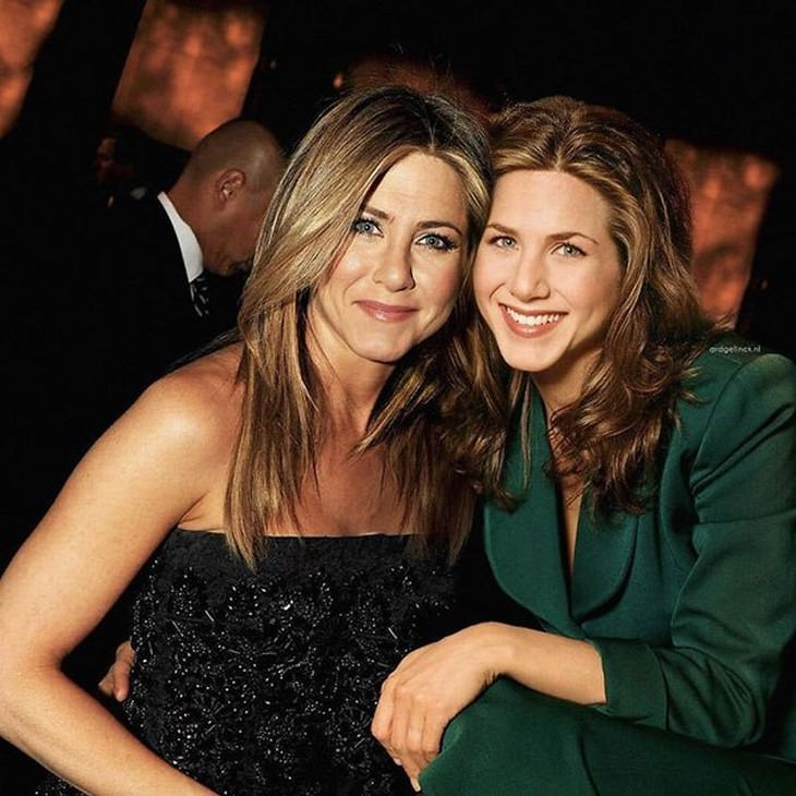 celebrities and their younger selves Jennifer Anniston