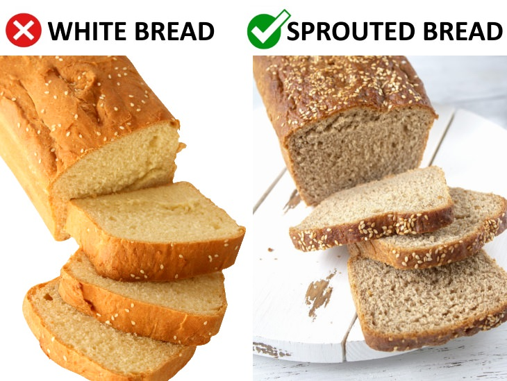 foods that age your skin Swap White Bread For Sprouted Bread
