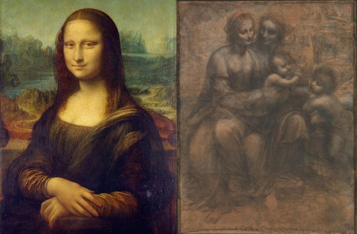 Leonardo da Vinci sculpture he Mona Lisa and The Virgin and Child with Saint Anne