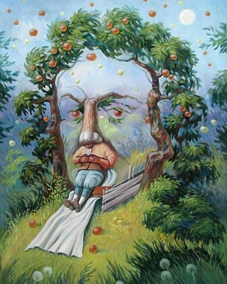 optical illusions Oleg Shuplyak Newton In The Garden Of Ideas
