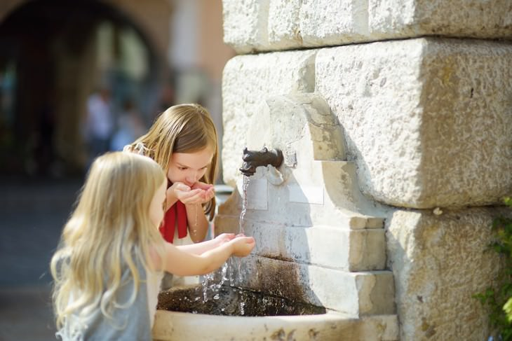 unhealthy habits Drinking From a Public Water Fountain