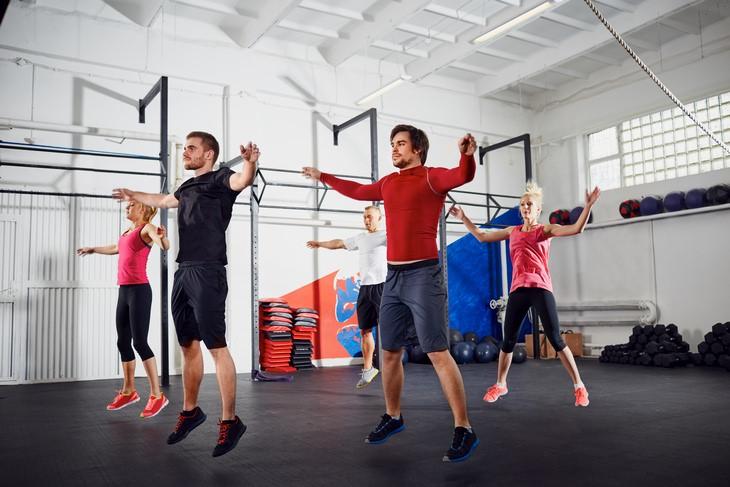 Calf exercises: jumping jacks