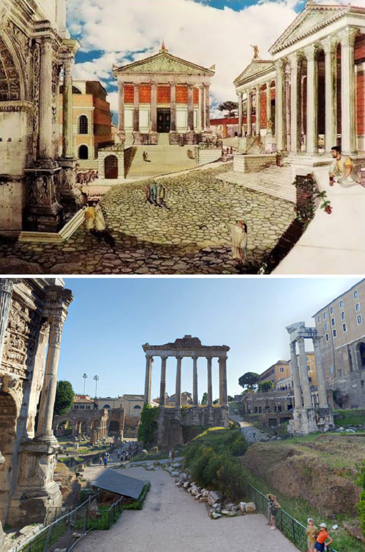 Roman ruins in the past Temple Of Saturn