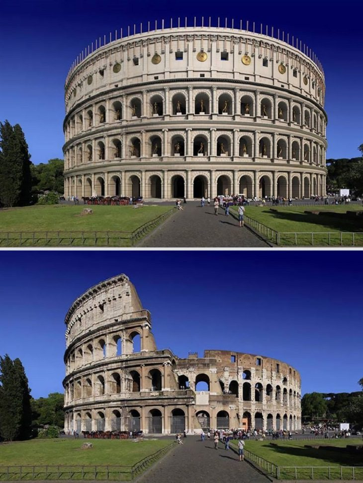 Roman ruins in the past The Colosseum