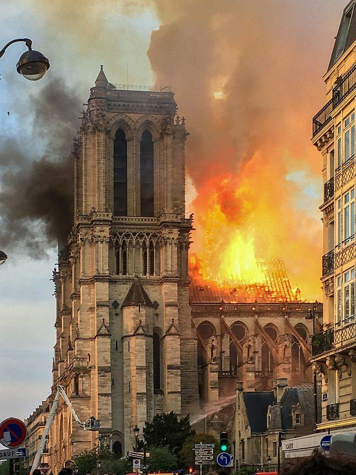 Notre Dame: burning