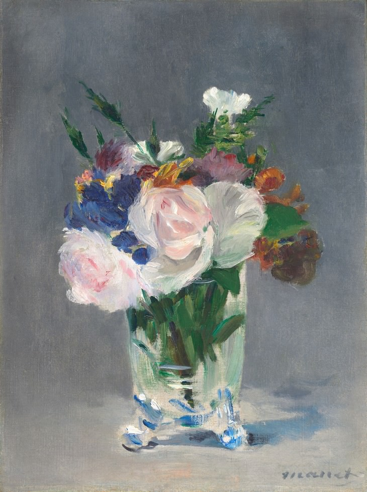 famous flower paintings Flowers In a Crystal Vase (1882) Edouard Manet
