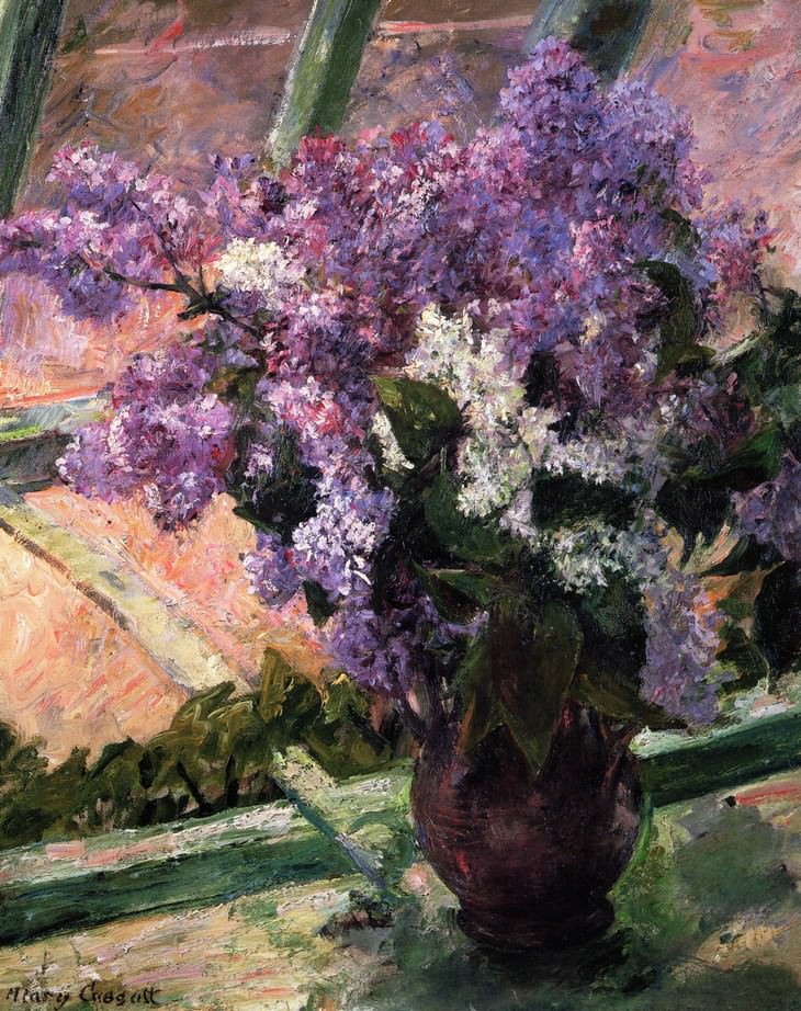 famous flower paintings Lilacs in a Window, (circa 1880-83) Mary Cassatt