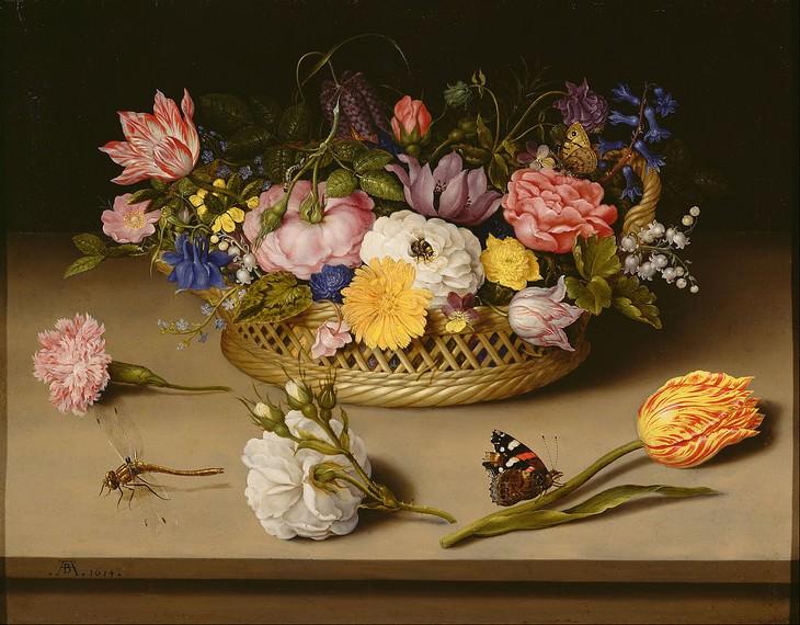 famous flower paintings Still Life of Flowers (1614) Ambrosius Bosschaert