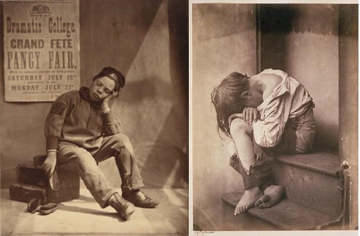 Oscar Gustave Rejlander artist portrait It Won't Rain To-day, c.1865 (left),Homeless, staged studio workc.1865(right)