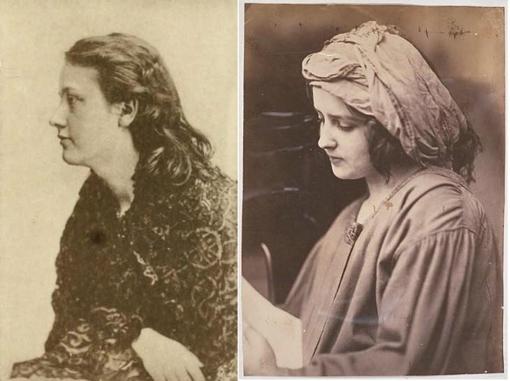 Oscar Gustave Rejlander artist portrait Portrait of Emily Honoria Patmore,1872(left),Woman reading a letter,c.1860 (right)