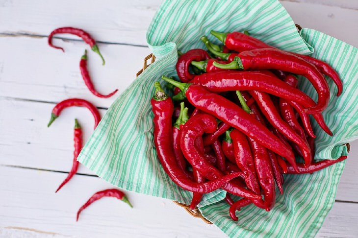 chili peppers in a basket