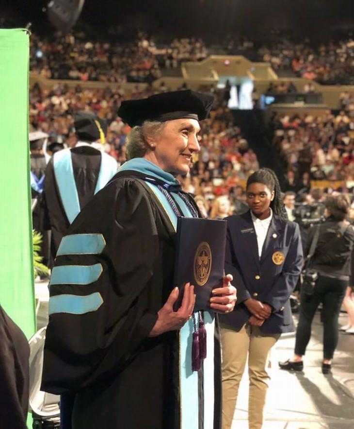 senior graduates 77 PhD graduate woman