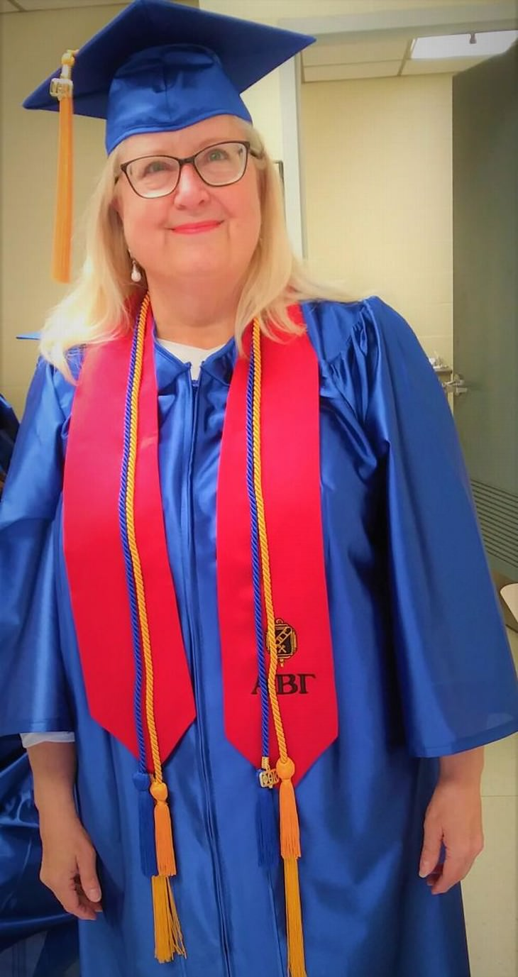 senior graduates 65 and she just graduated from college