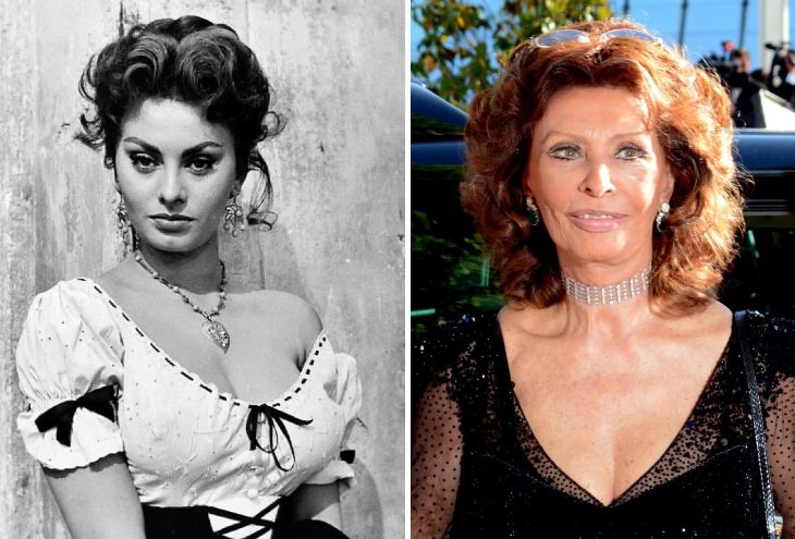 celebrities past their 80s Sophia Loren (1955 vs 2014)