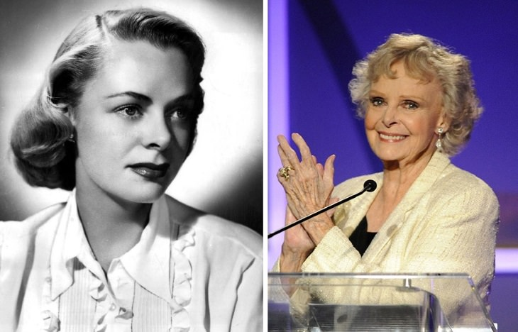 celebrities past their 80s June Lockhart (1947 vs 2009)