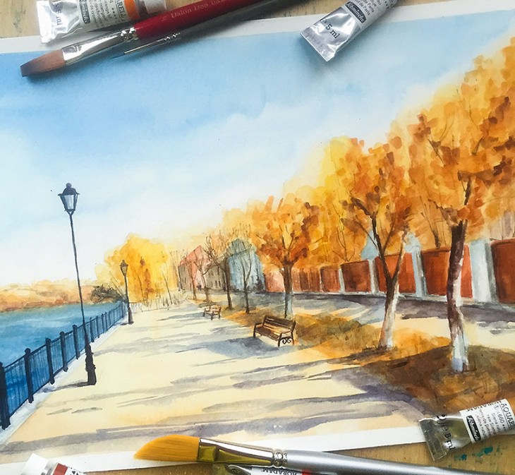 Watercolor landmarks: Plyos Russia