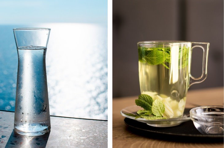 digestive health while traveling water and peppermint tea