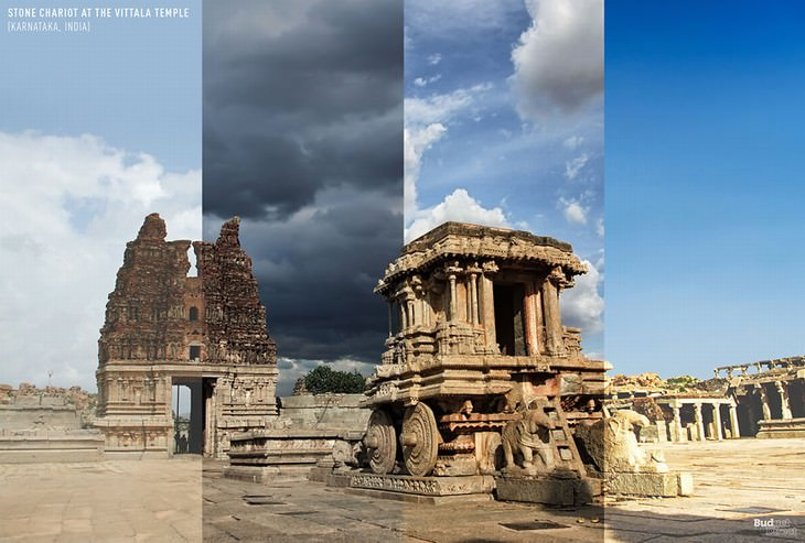 throughout the seasons places in the world Stone Chariot at The Vittala Temple Complex, Hampi, Karnataka, India