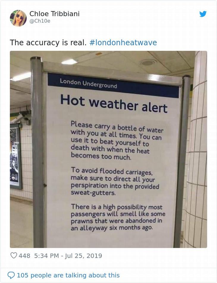 UK heatwave response funny london underground ad