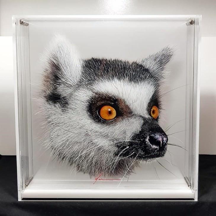 Yosman Botero Gómez 3D animal paintings Lemur