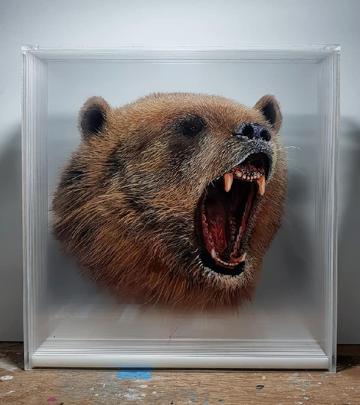 Yosman Botero Gómez 3D animal paintings bear roar