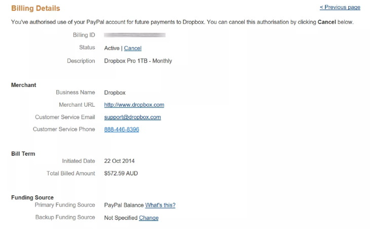 canceling payments and subscriptions on Paypal individual subscription