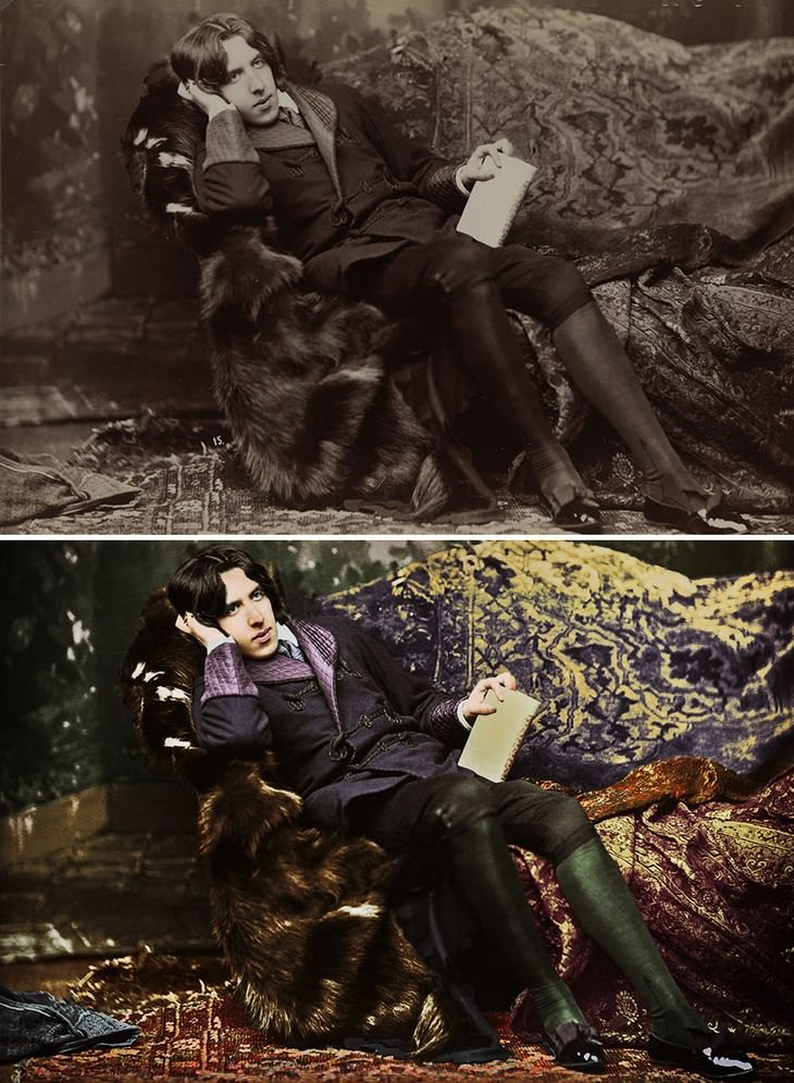 colored photos historical moments and figures by Mario Unger Portrait of Oscar Wilde (1882)