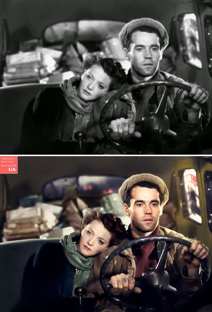 colored photos film scenes Mario Unger 'You Only Live Once' (1937) featuring Sylvia Sidney and Henry Fonda