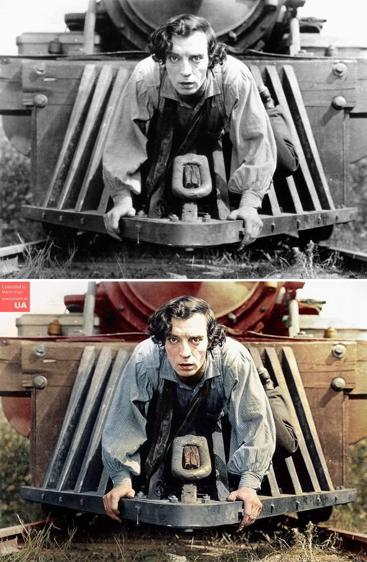 colored photos film scenes Mario Unger Buster Keaton in the film 'The General' (1926)