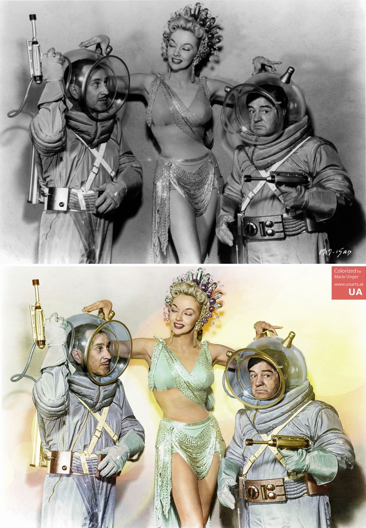 colored photos film scenes Mario Unger Scene from 'Abbott And Costello Go To Mars' (1953)