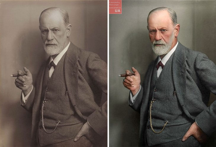 colored photos historical moments and figures by Mario Unger Portrait of Sigmund Freud in 1920by PhotographerMax Halberstadt