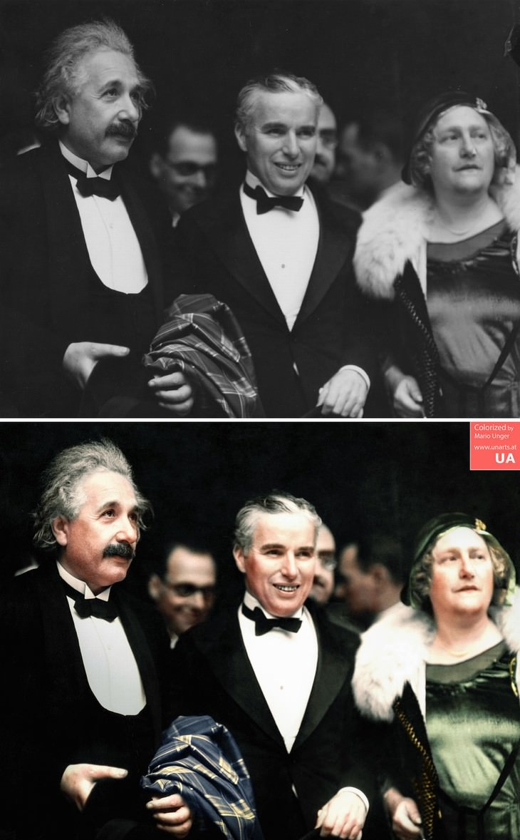 colored photos historical moments and figures by Mario Unger 'City Lights' (1931) PremiereAlbert Einstein, his Wife Elsa and Charlie Chaplin