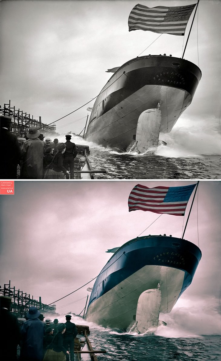 colored photos historical moments and figures by Mario Unger The Launch of a Steamer in St.Clair, Michigan on September 2, 1905 (Original Photo by Frank J. Hecker)