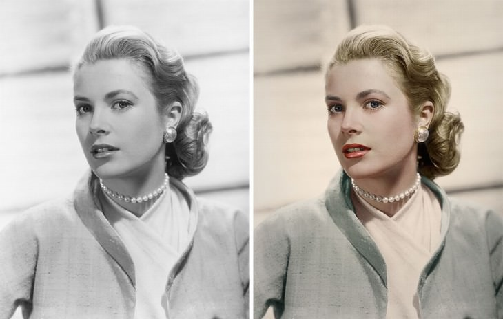 colored photos film scenes Mario Unger Grace Kelly in the film 'Rear Window'(1954)