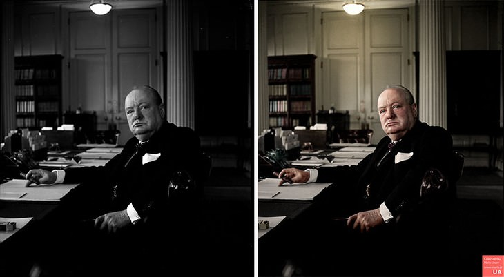colored photos historical moments and figures by Mario Unger Portrait ofSir Winston Churchill