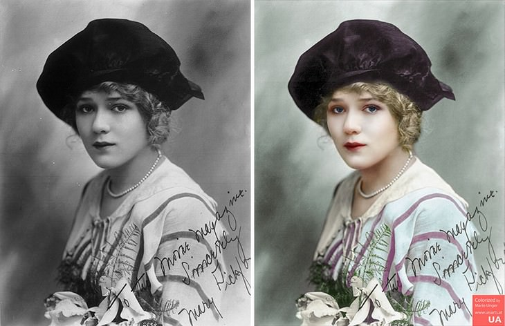 colored photos film scenes Mario Unger Autograph of Mary Pickford (c.1914)