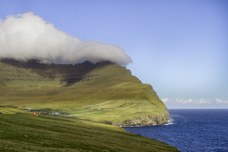 Faroe Islands cloudy bay