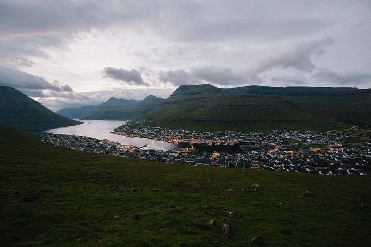 Faroe Islands town in the evening