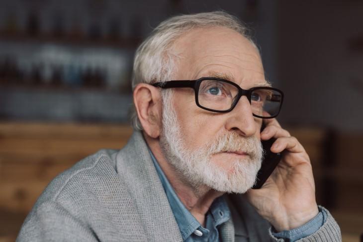 joke: senior man on phone