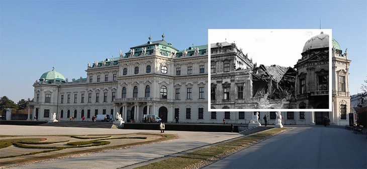 Vienna vintage photos Belvedere Palace 1945 vs. 2015